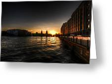 Old Docks Sunset. Greeting Card