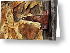 Old Door Hinge Greeting Card