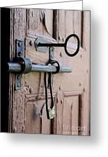 Old Door Of Wood With Its Worn Lock Greeting Card by Bernard Jaubert