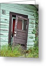 Old Door On Rustic Alaska Cabin Greeting Card