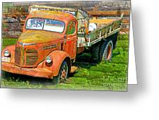 Old Dumptruck On Brick Background-ca Greeting Card