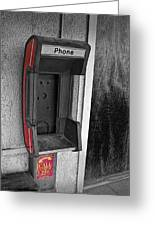 Old Empty Phone Booth Greeting Card
