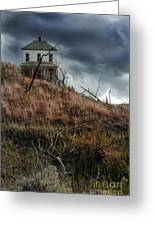 Old Farmhouse With Stormy Sky Greeting Card