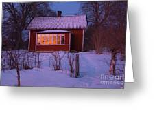 Old-fashioned House At Sunset In Winter Greeting Card