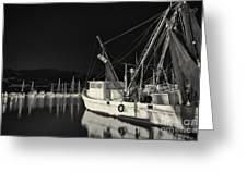 Old Fishing Boat At Texas Gulf Coast Greeting Card