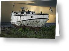 Old Fishing Boat On Shore With Storm Moving In Greeting Card