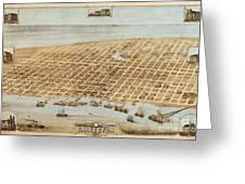 Old Galveston Map Greeting Card
