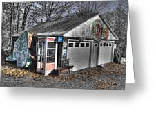 Old Gas Station Signs And A Soon To Be Outdated Phone Booth Greeting Card