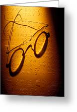 Old Glasses On Braille  Greeting Card