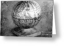 Old Globe In Black And White Greeting Card