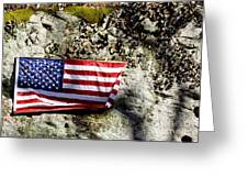 Old Glory On A Rock Greeting Card