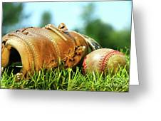 Old Glove And Baseball  Greeting Card by Sandra Cunningham