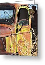 Old Green Truck Door Greeting Card