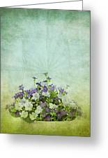 Old Grunge Paper Flowers Pattern Greeting Card