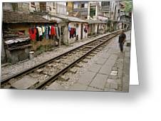 Old Hanoi By The Tracks Greeting Card