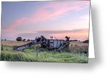 Old Harvester Sunset Greeting Card