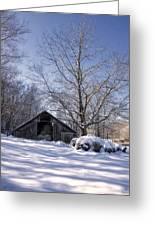 Old Hay Barn In Deep Snow Greeting Card