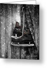 Old Ice Skates Hanging On Barn Wall Greeting Card