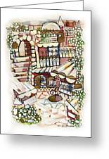 Old Jerusalem Courtyard Modern Artwork In Red White Green And Blue With Rooftops Fences Flowers Greeting Card