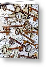 Old Keys And Watch Dails Greeting Card