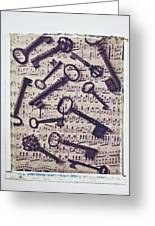 Old Keys On Sheet Music Greeting Card