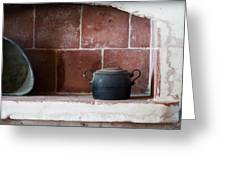 old kitchen - A part of a traditional kitchen with a vintage metal pot  Greeting Card