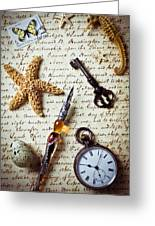 Old Letter With Pen And Starfish Greeting Card
