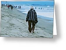 Old Man And The Beach Greeting Card