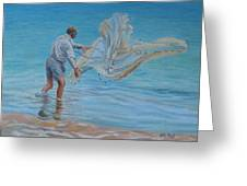 Old Man Casting Net Greeting Card