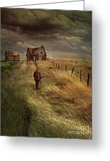 Old Man Walking Up A Path Of Tall Grass With Abandoned House In  Greeting Card