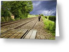 Old Man Walks Along Train Tracks Greeting Card