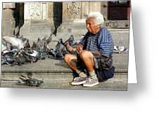 Old Man With Doves Greeting Card