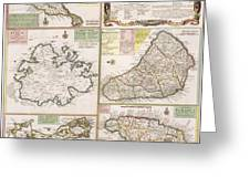 Old Map Of English Colonies In The Caribbean Greeting Card