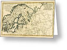 Old Map Of Northern Europe Greeting Card