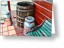 Old Milk Cans And Rain Barrel. Greeting Card