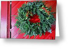 Old Mill Of Guilford Door Wreath Greeting Card