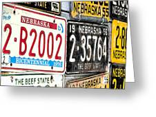 Old Nebraska Plates Greeting Card