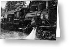 Old Number Three_climax Locomotive_durbin Wv _bw Greeting Card