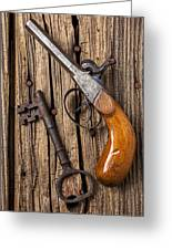 Old Pistol And Skeleton Key Greeting Card by Garry Gay