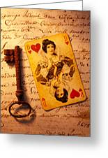 Old Playing Card And Key Greeting Card