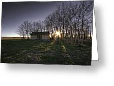 Old Prairie Homestead At Sunset Greeting Card