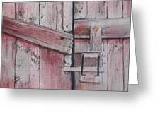 Old Red Barn Door Greeting Card
