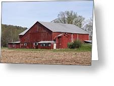 Old Red Barn With Short Silo Greeting Card