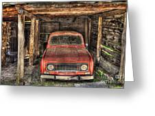 Old Red Car In A Wood Garage Greeting Card