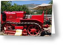 Old Red Tractor Greeting Card