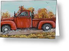 Old Red Truck Going Down The Road Greeting Card