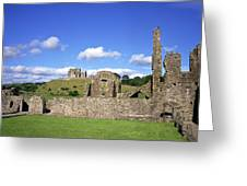 Old Ruins Of An Abbey With A Castle In Greeting Card