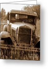 Old Rustic Ford-sepia Greeting Card