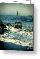 Old Sailing Vessel Near The Rocky Shore Greeting Card