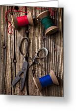 Old Scissors And Spools Of Thread Greeting Card